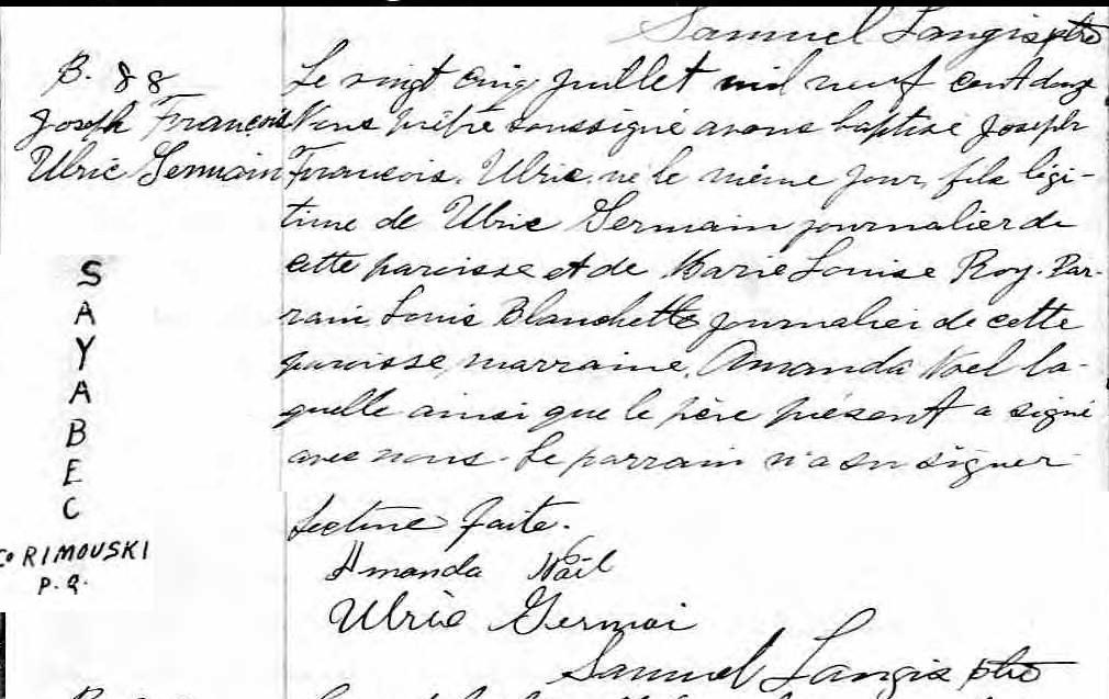 Ulric Germain pendu en 1927 à Rimouski pour le meurtre de son épouse Franyo13