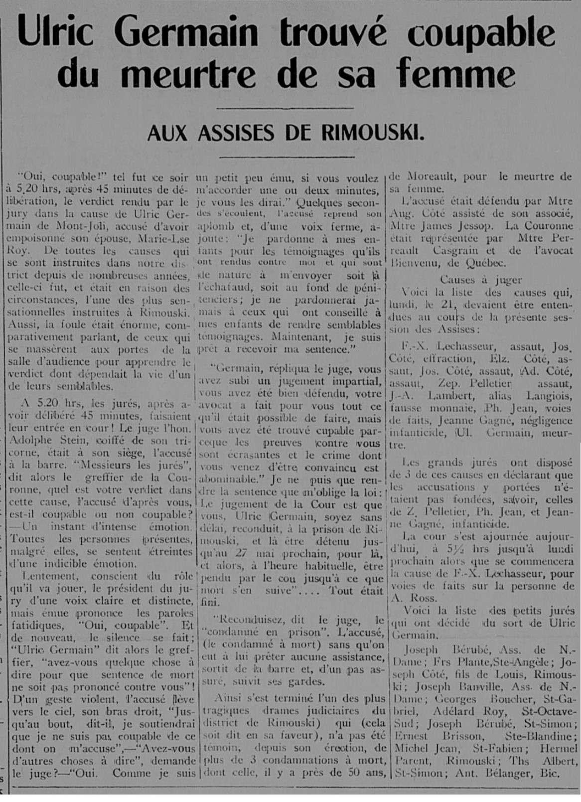 Ulric Germain pendu en 1927 à Rimouski pour le meurtre de son épouse Le_pro10