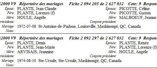 PLANTE Jean-Claude & PICOTTE Celine - PLANTE Renée & PLANTE Denis -  REGISTRES DE MARIAGES Mariag16