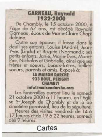 Côté dit Fréchette et qui sont les parents de Brigitte Garneau ? Raynal10