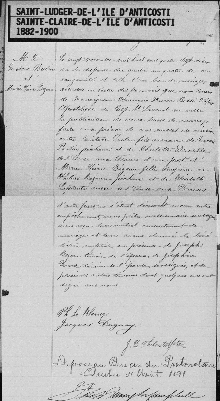Mariage d'Élisabeth Laplante et Philéas Beseau(Bezeau) Record12
