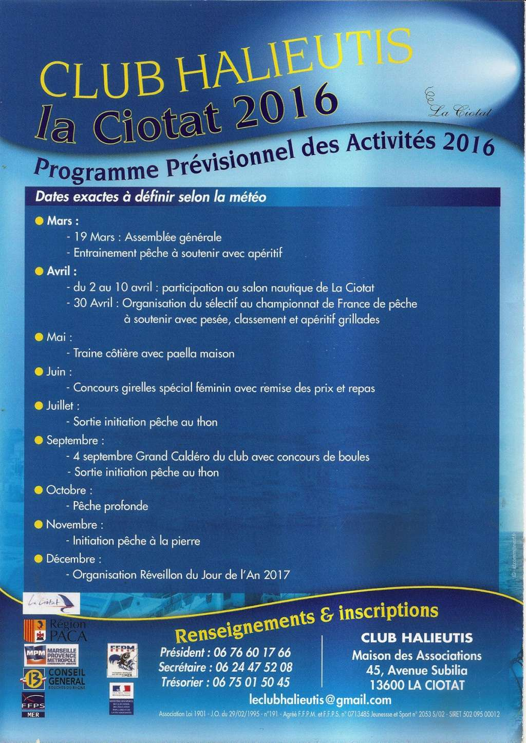 CALENDRIER ACTIVITES 2016 Calend10