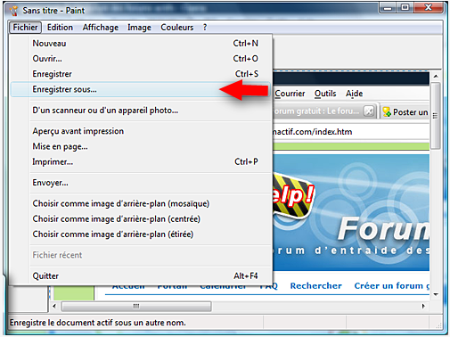 Faire une capture d'écran (screen-shot) Paint213