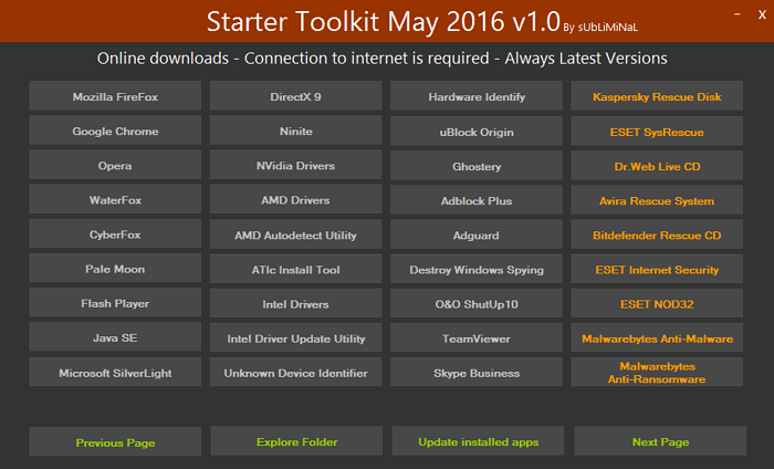 الإصدار الأول لاسطوانة البرامج الهامة بعد تسطيب الويندوز Starter Toolkit May 2016 v1.0 2l69xo10