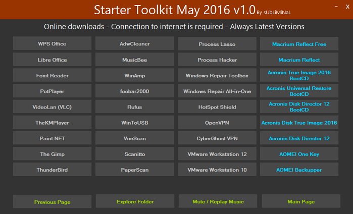 الإصدار الأول لاسطوانة البرامج الهامة بعد تسطيب الويندوز Starter Toolkit May 2016 v1.0 Jm5e9i10