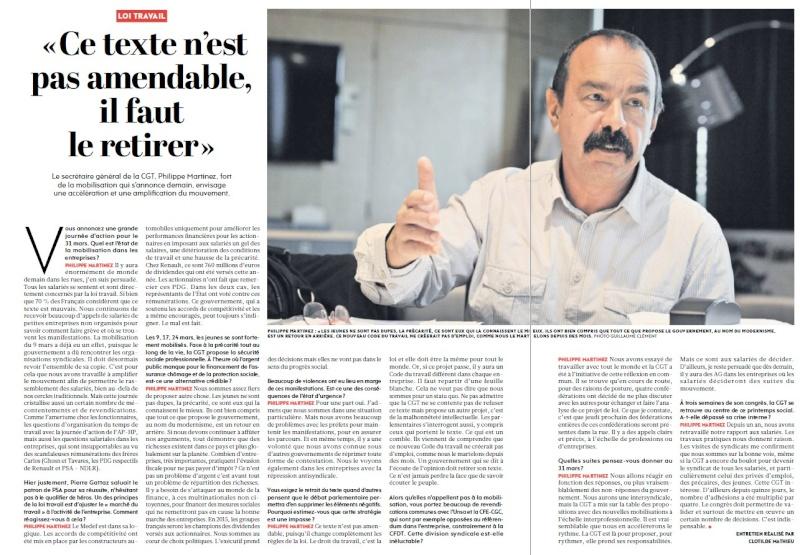 [à télécharger] L'Huma du 30/03, l'interview de Martinez Screen14