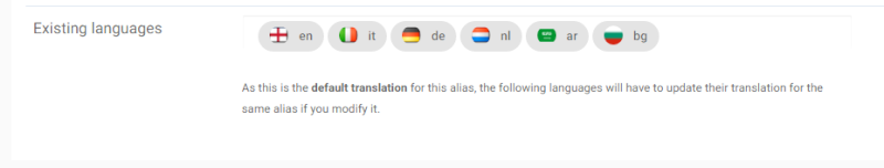 Popup for languages on alias modification Existi10