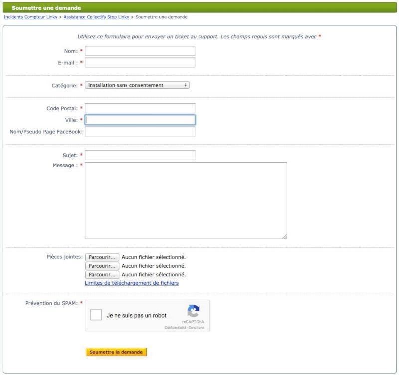 Assistance Collectifs Stop Linky, afin de répertorier l'ensemble des incidents Linky vécus par les utilisateurs 13064510