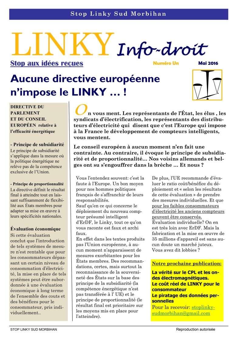 Linky - Infos-droit - Stop aux idées reçues - Aucune directive européenne n'impose le LINKY … ! P110