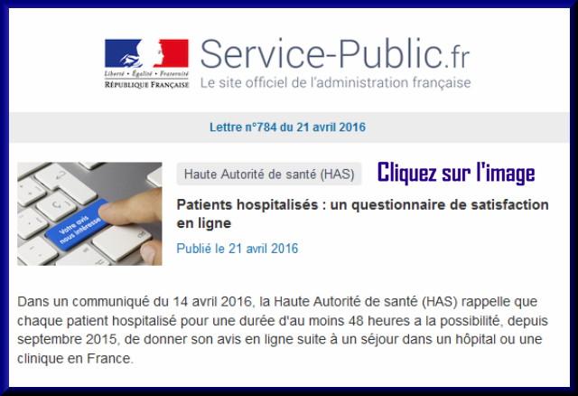 """La lettre N° 784 de """"Service Public"""" pour le 21 Avril  2016 78410"""