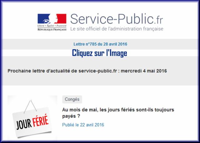 """La lettre N° 785 de """"Service Public"""" pour le 28 Avril  2016 78510"""