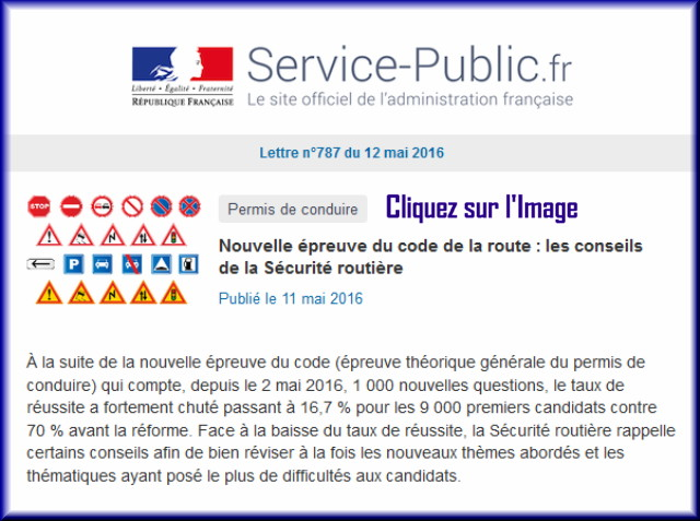 """La lettre N° 787 de """"Service Public"""" pour le 12 Mai  2016 78710"""