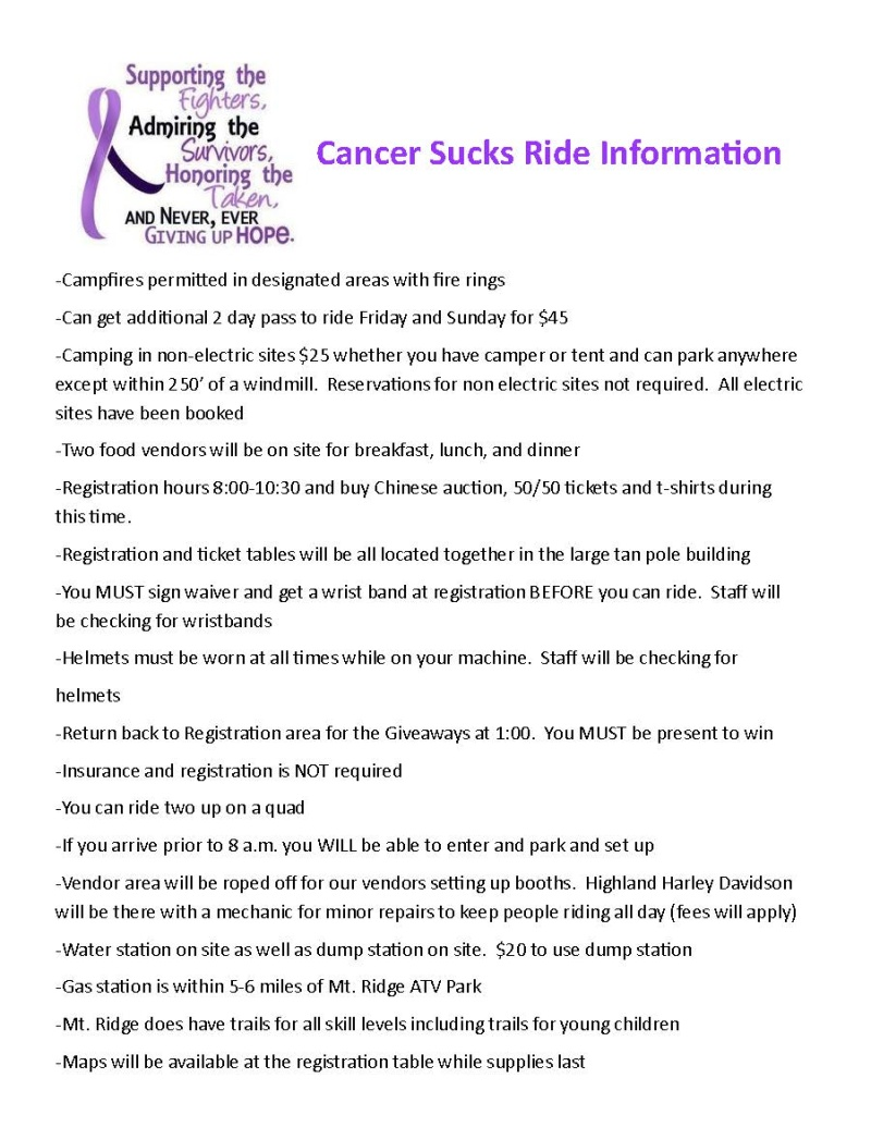 2nd Annual Western PA SxS & ATV Cancer Sucks Ride! Cancer10