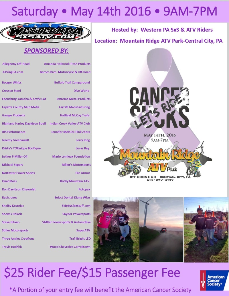 2nd Annual Western PA SxS & ATV Cancer Sucks Ride! Cancer11