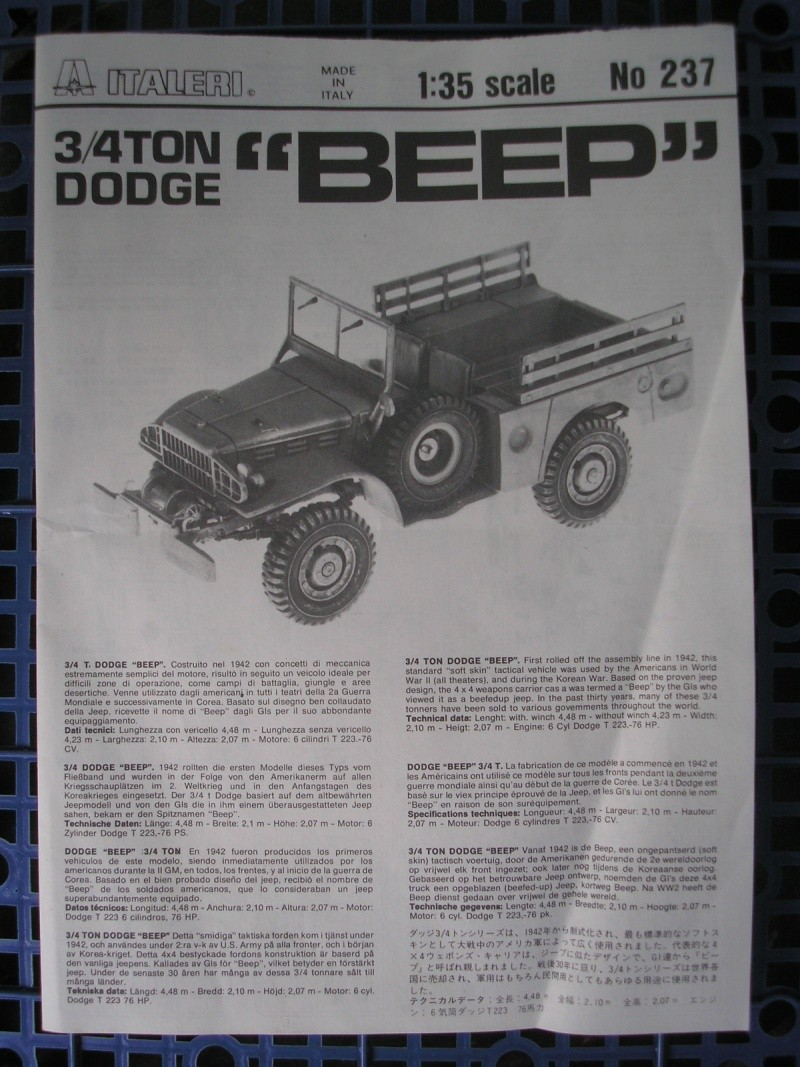 [ITALERI] - DODGE 3/4 TON BEEP - 1/35ème - Ref 237  Dodge_10
