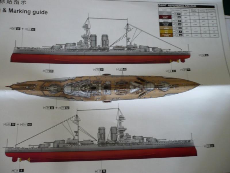 HMS Queen Elizabeth 1918 Trumpeter 1/700 + PE White Ensign+ pont bois Artwox + figurines Eduard P1210112