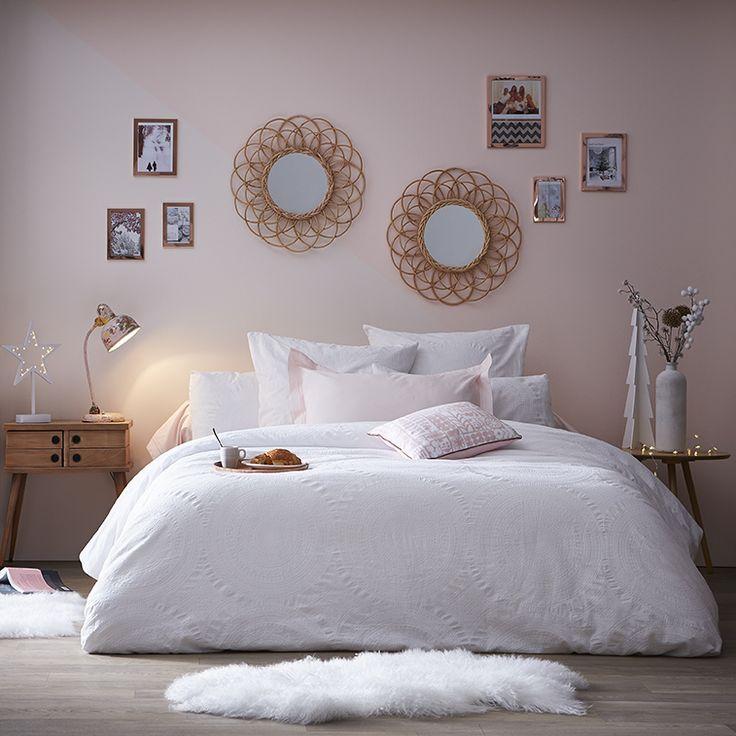 Chambre cocooning vieux rose blanc et gris
