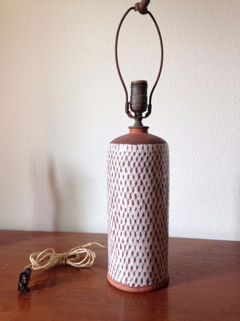 Unknown Signature earthenware ceramic table lamp - Denmark, c. 1950-1960s S-l16010