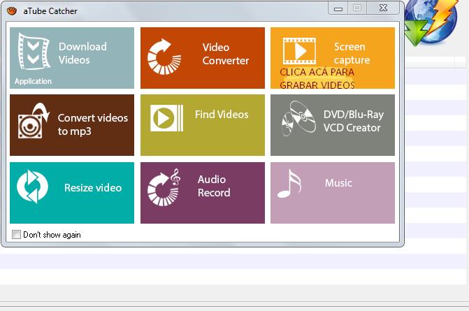 Grabar las acciones de la pantalla en Video Atube012