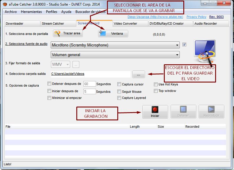 Grabar las acciones de la pantalla en Video Atube015