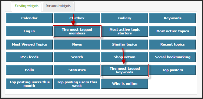 NEW: The most tagged keywords and the most tagged members widgets  Tutoen10