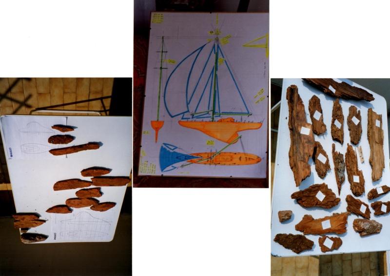 Materiali poveri.  Modelli di navi e barche in corteccia di pino e alberi in ottone. 110