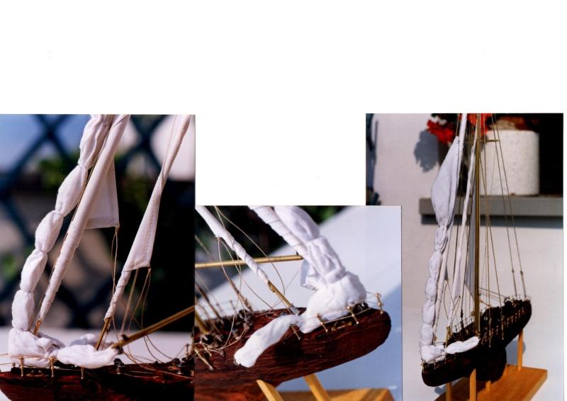 Materiali poveri.  Modelli di navi e barche in corteccia di pino e alberi in ottone. 510