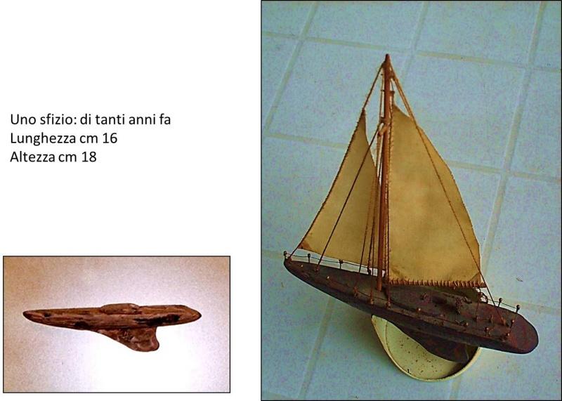 Materiali poveri.  Modelli di navi e barche in corteccia di pino e alberi in ottone. Sfizio10