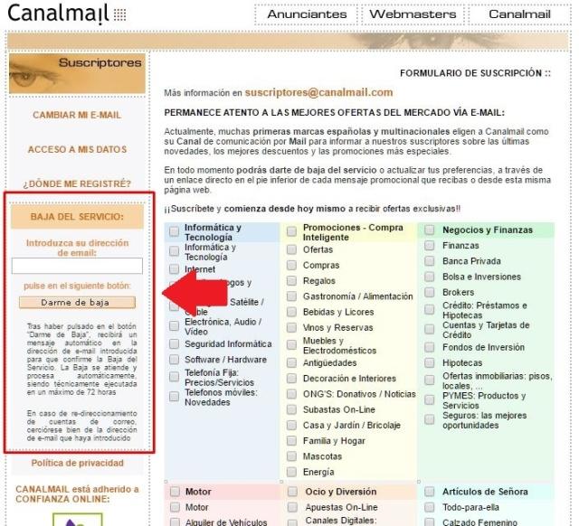 Correos de - Canalmail -. Baja_211