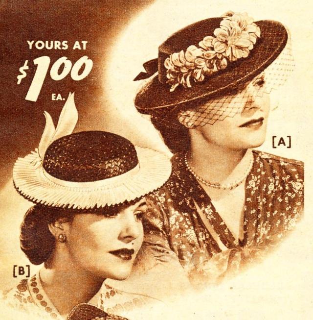 Et elle avait ! elle avait ! elle avait un chapeau rigolo ! et une drôle de petite robe... LA MODE PENDANT LA GUERRE EN FRANCE ET COTE US 7337_510