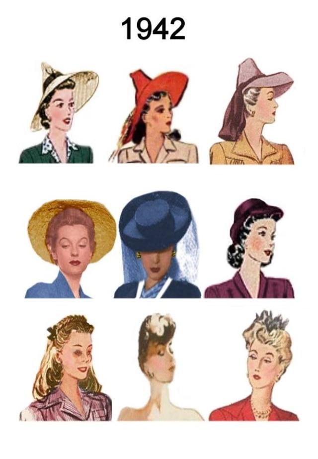 Et elle avait ! elle avait ! elle avait un chapeau rigolo ! et une drôle de petite robe... LA MODE PENDANT LA GUERRE EN FRANCE ET COTE US 94203111