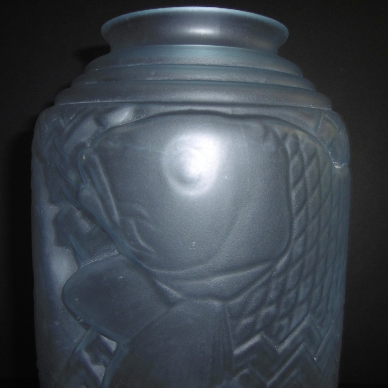 Art Deco 1920-30's Frosted glass Vase..Unusual shape-Chinese Lantern P1170624