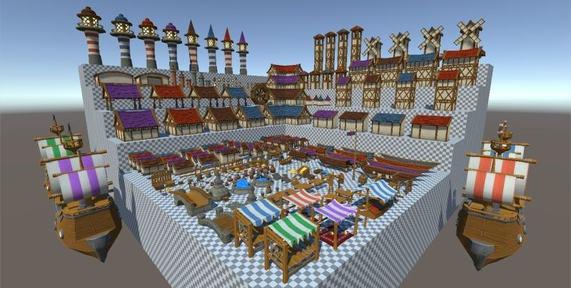 Hand-Painted Village Pack -- 315 Modular Assets -- Image Heavy! 610