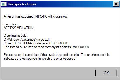 MPC 1.7.10.234 Crash Access Violation 2016-010