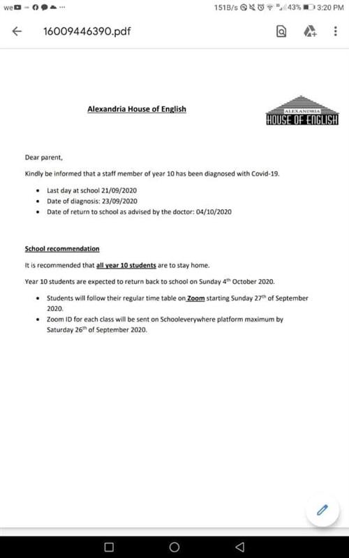 توابع اكتشاف حالات كورونا بمدارس الإنترناشونال والدولية بالإسكندرية.. والتعليم: اتبعوا النشرات 1244810