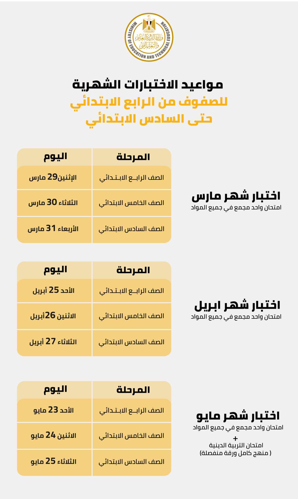 التعليم امتحان التربية الدينية في نهاية الفصل الدراسي الثاني بالتزامن مع امتحان شهر مايو 2021 بالإضافة للتربية الفنية و الحاسب الألى لصفوف نقل إعدادى 15833610