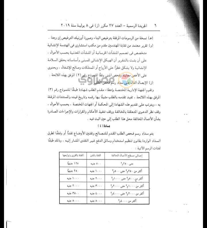 الجريدة الرسمية تنشر - استمارة طلب التصالح في مخالفات البناء لكل المواطنين  2019_722