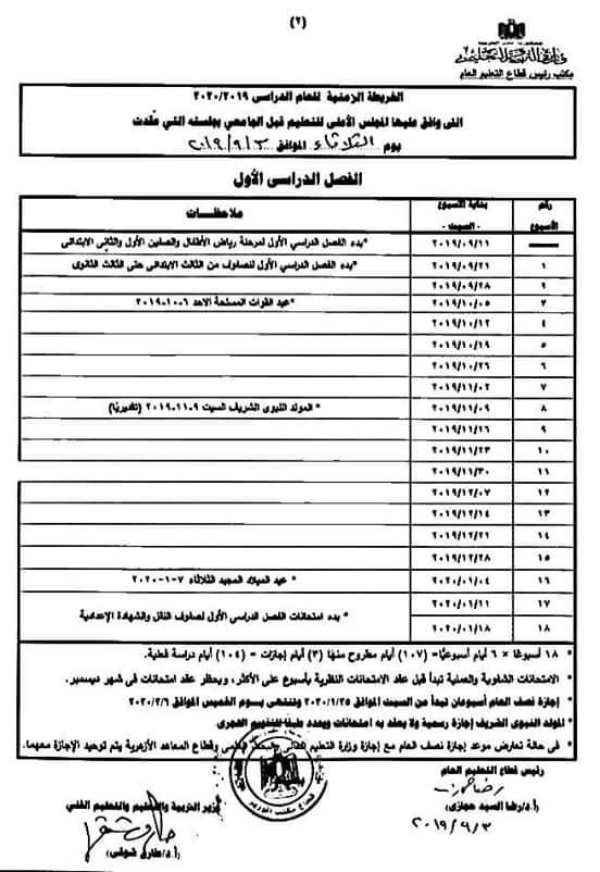 """مواعيد انطلاق امتحانات الترم الأول""""2019-2020 """" لكل فرق ابتدائى و إعدادى و ثانوى 311"""