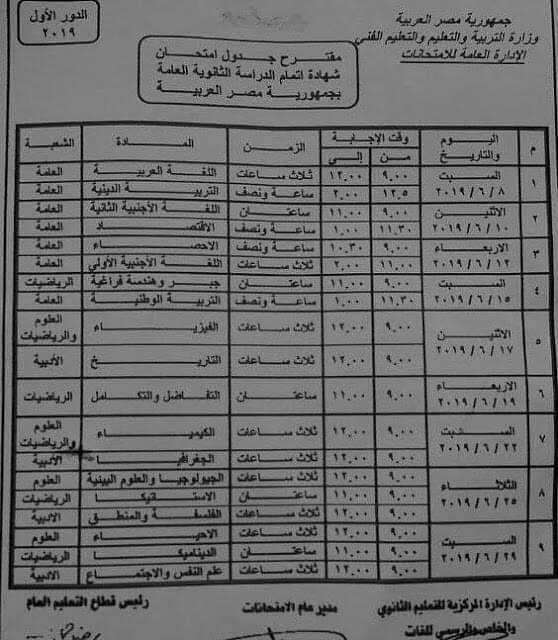 التعليم تنشر بيان بالمسموح لهم دخول امتحان الثانوية العامة2019 50027910