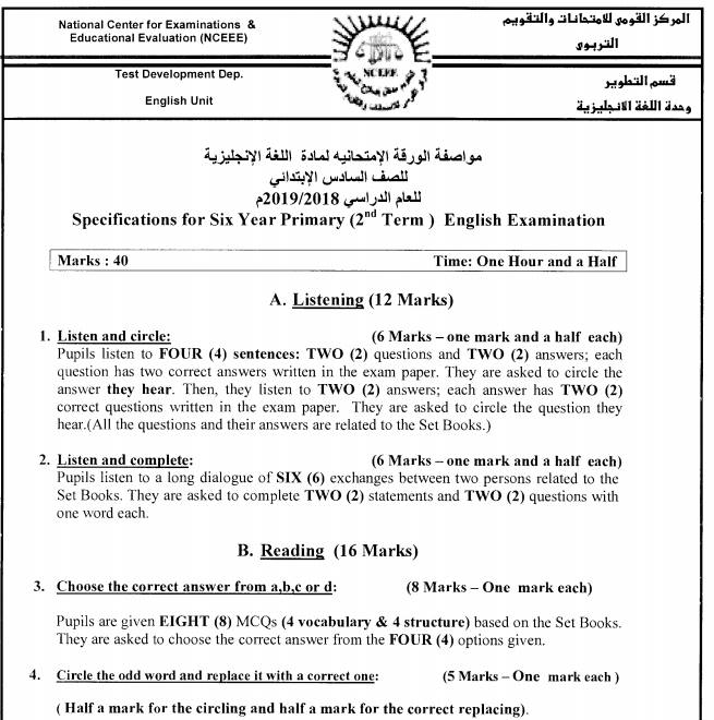 """ملف مجمع """" مواصفات الورقة الإمتحانية للغة الإنجليزية"""" أخر العام2019 56697010"""