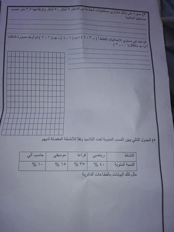 امتحان فعلى رياضيات للصف السادس ترم ثانى2019 57098910