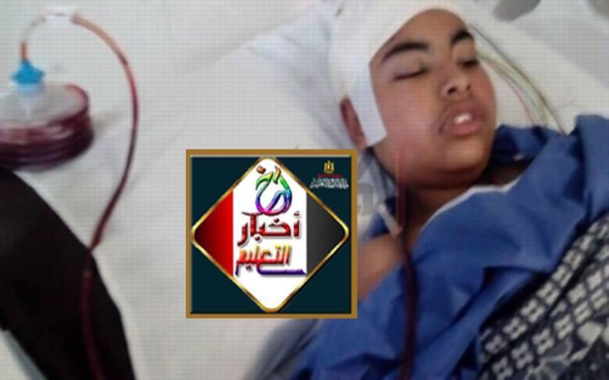 """بعد  سقوط """"ديسك"""" على رأسه . والدة طالب مدرسة الفيصلية: إبنى مش فاكرني 57262910"""
