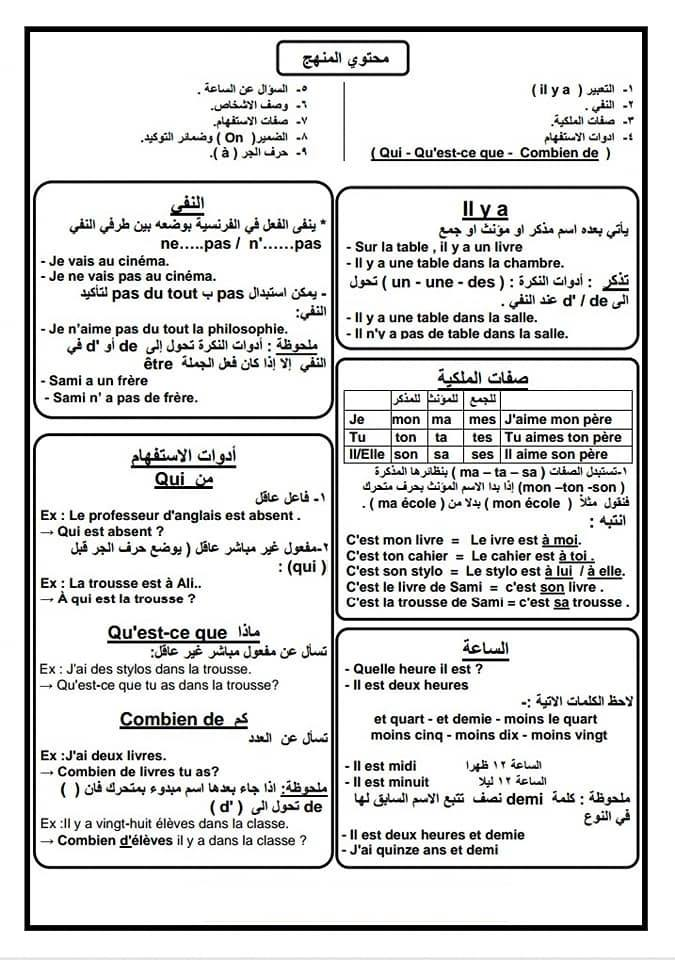 لإمتحان مايو مراجعة كلمات وجرامير اللغة الفرنسية 3 ورقات للأول الثانوى  58004011