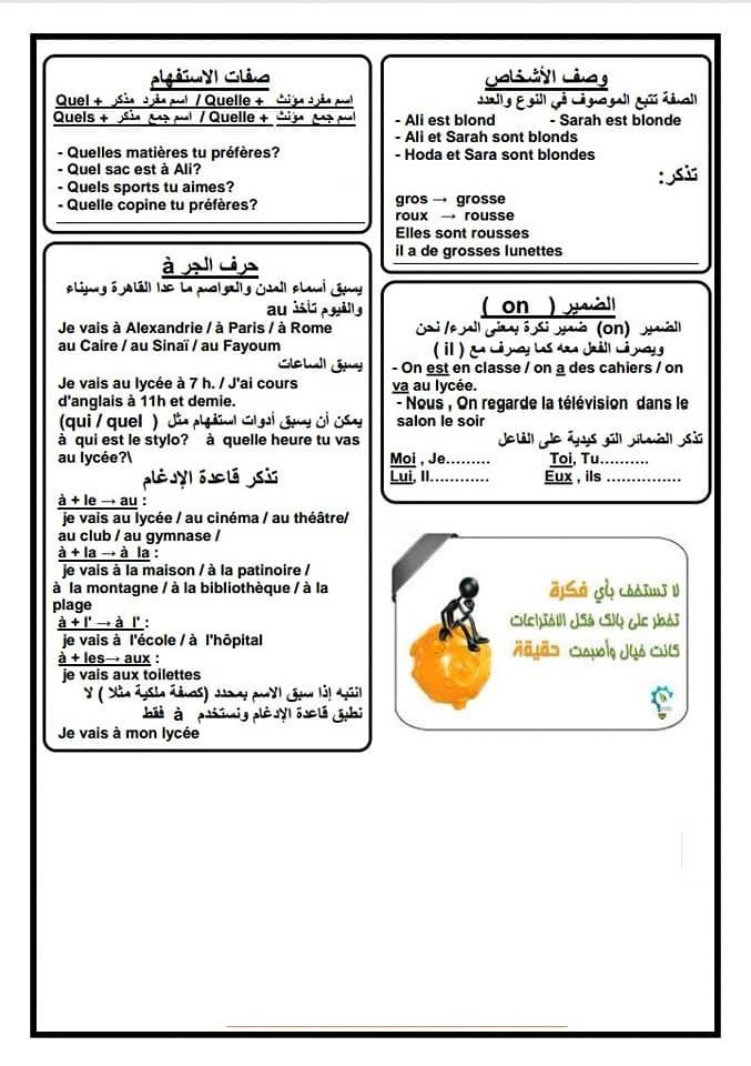 لإمتحان مايو مراجعة كلمات وجرامير اللغة الفرنسية 3 ورقات للأول الثانوى  58461410