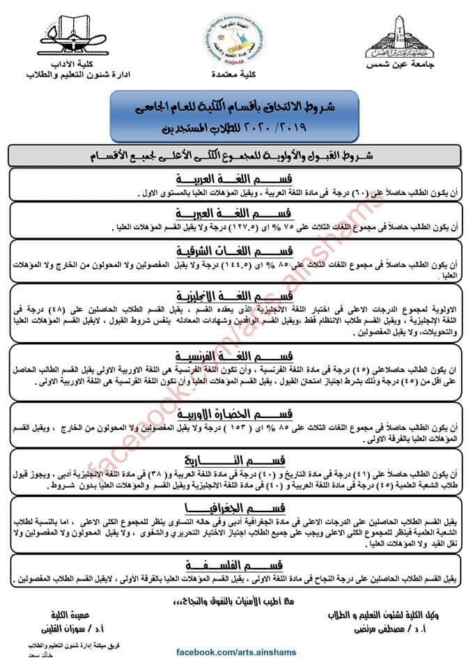 شروط 2019 للإلتحاق بأقسام كلية آداب عين شمس 66903710