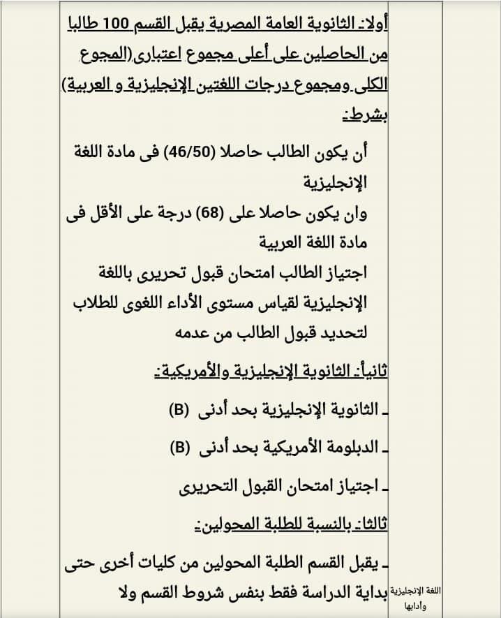 شروط الإلتحاق بكل قسم من أقسام كلية آداب القاهرة 67043610