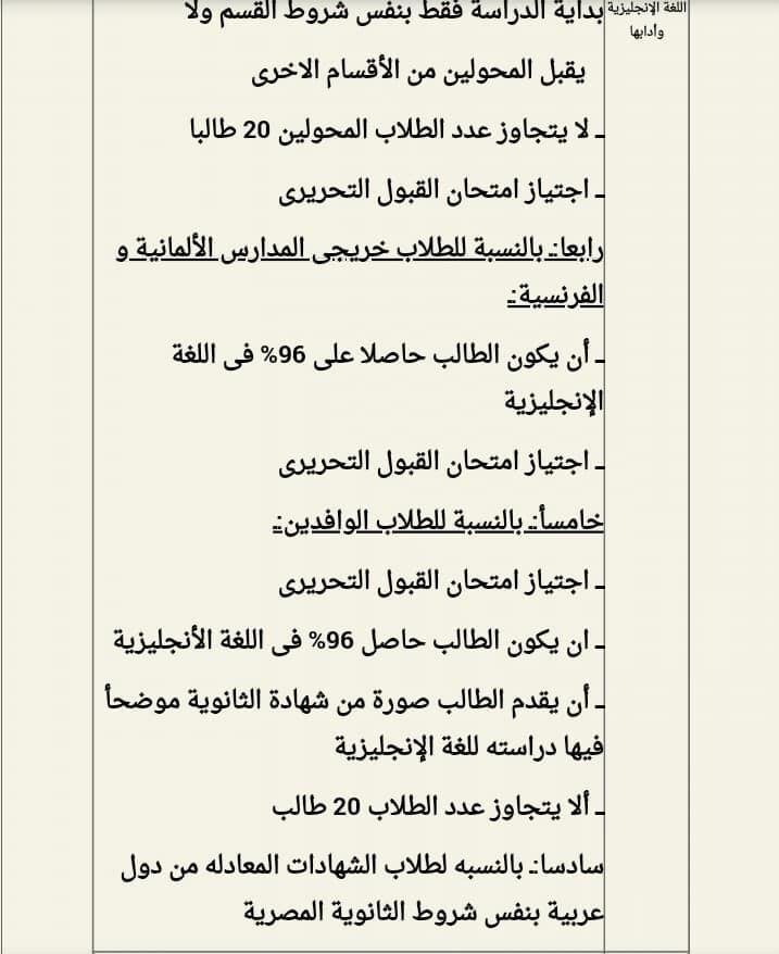 شروط الإلتحاق بكل قسم من أقسام كلية آداب القاهرة 67230210