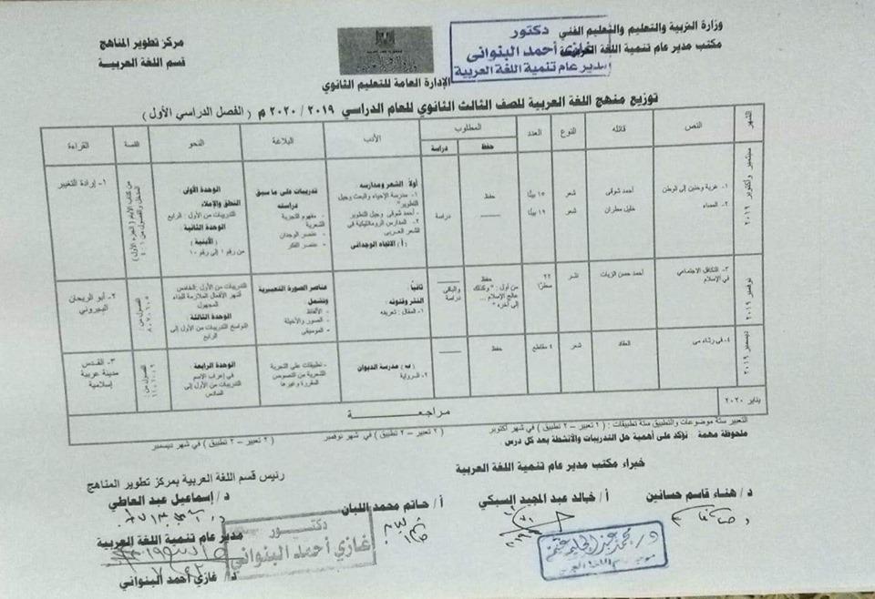 توزيع مناهج اللغة العربية الرسمية لكل فرق ثانو ى ترم أول2020 68916210