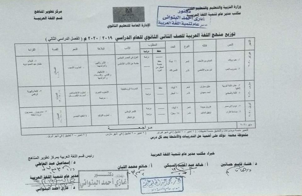 توزيع مناهج اللغة العربية الرسمية لكل فرق ثانو ى ترم أول2020 69594510