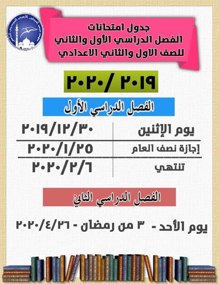 مواعيد امتحانات الترم الأول للمعاهد الأزهرية 2020 72125210